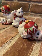Three Fitz And Floyd White Cat Christmas Ceramic Figurines