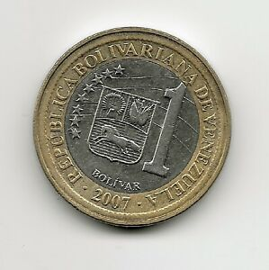 World Coins - Venezuela 1 Bolivar 2007 Bimetallic Coin Y#93 ; Lot-V2