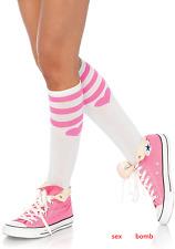 Calze Bianco/Rosa Righe Cuori al ginocchio intimo Lingerie Fashion Sexy GLAMOUR