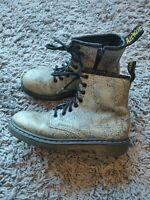 Dr Martens Delaney Boots Junior Girls Youth 1460J Snake Silver Print Size UK 1