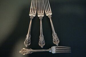 """LOT of 4 Wallace Sterling Silver Grande Baroque 7 1/2"""" Dinner Forks 269 Grams"""