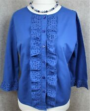Cath Kidston ~ UK 12 ~ mid blue cotton, broderie anglaise trim, button up blouse