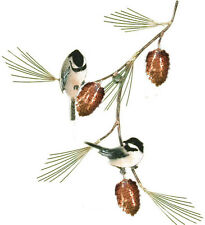 Chickadees with Pine Bough Metal Bird Wall Art Sculpture by Bovano #W415
