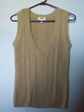 Talbots Petites Brown Cable Knot V Neck Sweater Vest Size S