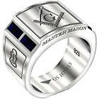 Men's 0.925 Sterling Silver Sapphire Gemstone Blue Lodge Freemason Masonic Ring