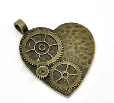 BC675 10 Heart Charms Antique Bronze Tone 2 Sided
