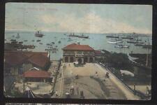 Postcard CEYLON INDIA  Harbor/Bay Shipping Scene Bird's Eye Aerial view 1910's