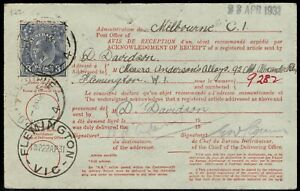 P.M.G. Dept Acknowledgement of receipt 3d KGV Melb Vic to Flemington Vic 1931