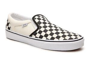 Vans White Checkered Checkerboard SlipOn Shoes Mens Sz 10.0