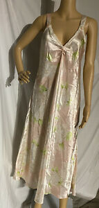 Oscar De La Renta Long Satin Nightgown Neligee Floral Medium (made big)