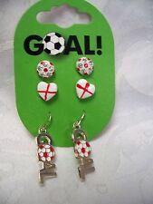England Football Supporter Earrings Pk 3 Goal England Flag Red White Heart