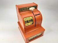 Vintage - Uncle Sam's 3 Coin Cash Register Bank - Orange Made In Japan Metal Toy