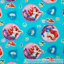 BonEful Fabric FQ Cotton Quilt Aqua Blue Ariel Princess Little Mermaid Damask Lg