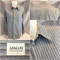 Armani Collezioni Shirt M Men Gray Stripe Cotton Made Tunisia LNWOT YGI L8-428