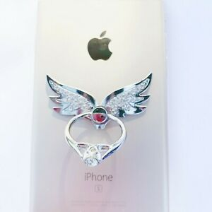 360 Rotating Crystal Cell Phone Ring Stand Holder iPhone Galaxy Android- Angel's