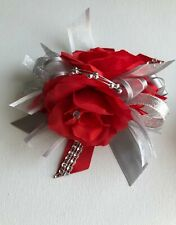 Wrist corsage/ Corsage Prom/ Red and silver wrist corsage /Prom wrist corsage