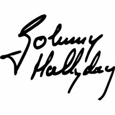 sticker signature johnny hallyday  rock et n'roll  20cm couleurs au choix