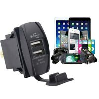 Twin Dual Double Port 2 USB 12V In Car Socket Lighter Charger Adapter Waterproof
