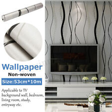 10M 53cm 3D Crescent Wave Stripes Non-woven Flocking Embossed Wallpaper Roll
