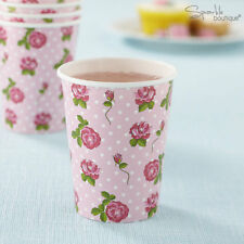 VINTAGE ROSE PAPER CUPS -Shabby Chic-Afternoon Tea/Hen Party/Pink- RANGE IN SHOP