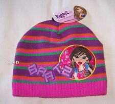 Bratz Girls Pink Purple Stripe Warm Acrylic Beanie Size 7 - 10 New b06c038c193