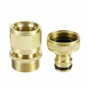 1 Set ,3/4 Garden Hose Pipe Tap Connector Fittings Brass Water Quick Adaptor UK