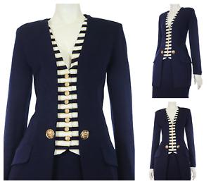St. John 4 Blazer Size 4 Suit Jacket Gold Logo Buttons Designer