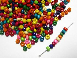 1000 Mixed Color 4mm Round Wood Beads~Wooden Mini Spacer Beads