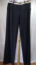 Roberto Cavalli Dress Pants Sz 44 US 10 12 Solid Black Wool Floral Logo Waist