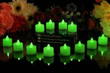 12 Green Battery Operated Flickering Flameless LED Tea Light Candles by PK Green