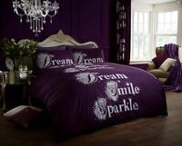 Dream Smile Sparkle Purple/Aubergine Duvet Cover Sets Quilt Covers Bedding Sets