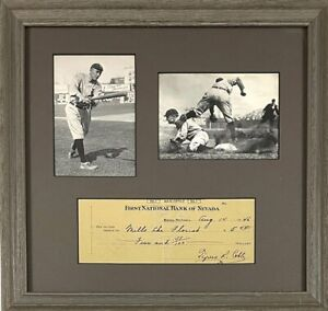 TY COBB Signed / Autographed / HOF Framed Check / Beckett LOA - Beautiful Piece