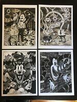 8.5x11 Set #3 Signed prints By Frank Forte Pop Surrealism Cartoon Dark Art
