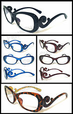 Womens Reader Reading Glasses Clear Lens Swirl Baroque Arms 4 Color 12 Power