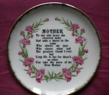 CERAMIC PLATE WITH VERSES FOR A MOTHER,MADE IN JAPAN,USED,VERY GOOD CONDITION