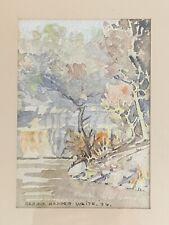 Signed Water Color Painting  CARRIE HARPER WHITE 1936 Vintage Landscape