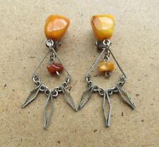 Old Genuine Baltic Amber stone stone earring jewelry natural vintage 5.9 g.