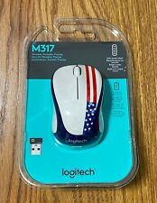 Logitech M317 Wireless Optical Mouse American Flag USA US Brand New & FREE Ship