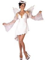 LADIES WHITE ANGEL COSTUME CHRISTMAS FANCY DRESS OUTFIT & WINGS NEW 12-14