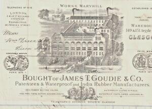 1907 Superb Engraved  Billhead shows Premises  -James  Goudie India Rubber(B192)
