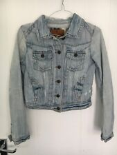 RIVER ISLAND UK6 LADIES LIGHT BLUE DISTRESSED DENIM JEAN JACKET GOOD CONDITION
