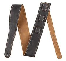 FENDER GUITAR STRAP ROAD WORN BLK GITARREN GURT LEDER USED OPTIK LEATHER STRAP