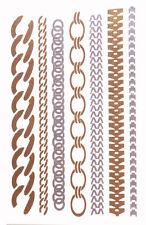 Break Free-exuberant Golden & Silver Metallic/easy Chain Tattoo Stickers(Cl35)