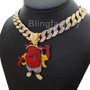 "Hip Hop Kool Aid Man pendant 18"" Iced Multi Colored Cuban Choker Chain Necklace"