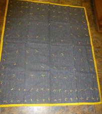 "Handmade Hand Tied Quilt 44 x 53"" Denim blue/Yellow Multi Striped  Gray Back"