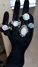 Ringkonvolut, 5 silberne Ringe mit Mondstein, Größen 52 bis 55 (s. Fotos)