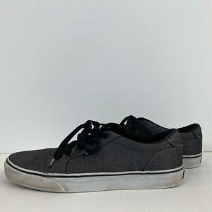 Vans Herringbone Canvas Lace Up Low Shoes Skateboarding Grey Size 10