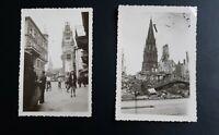 WW2 Collection de 2 photographies anciennes Freiburg destroyed 8 juillet 1947