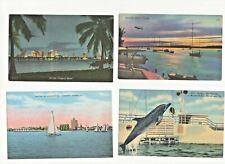 4 Vintage Florida Postcards Miami Sarasota & Pudgy the Porpoise Marine Studios