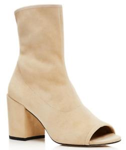 $575 size 8  Stuart Weitzman Bigkoko Open Toe Buff Suede Booties womens Shoes